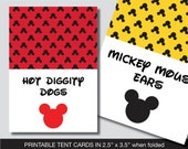 Mickey Mouse Food Labels, Mickey Mouse Food Tent Cards, Place Cards, Food Tent Labels, Place Setting, Buffet Labels, Mickey Mouse Food Tent