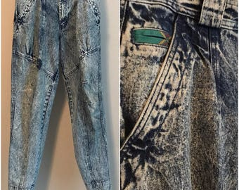 BUGLE BOY Vtg 90s Street Wear Jeans Acid Wash High Waist Taper Hammer Pant 32L