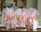 Pink Gold Mini Diaper Cupcake Table Centerpieces, Unique Baby Gift, Baby Shower Table Decorations, Shower Favors, Pink Gold Baby Shower