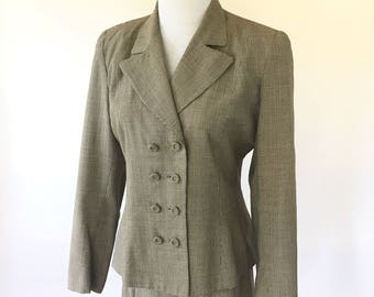 1950s Womens Houndstooth Suit Jacket Skirt Brown Checked Size Small