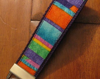 Rainbow, Brightly Colored Stripe Wristlet, Key Fob, Key Chain