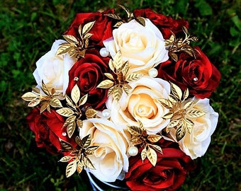 Red, Ivory and Gold Pearl Rose Bouquet, Wedding Flowers Centerpiece