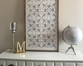 Pattern Tile Design, Joanna Gaines inspired, 24x48, Framed Wood Sign