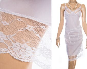 As new 'Damart' sheer silky soft shimmering white polyester and delicate matching floral lace detail 90's vintage full slip petticoat - 3974