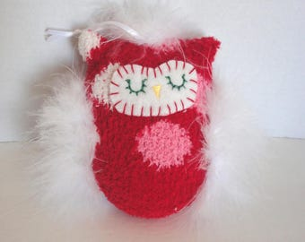 Red Owl - Plush Owl Decoration - Owl Ornament - Gift Wrapped