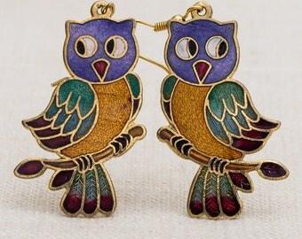 Vintage Owl Earrings Cloisonne Enamel 1990s French Hooks Shape Pierced Earings 7TU