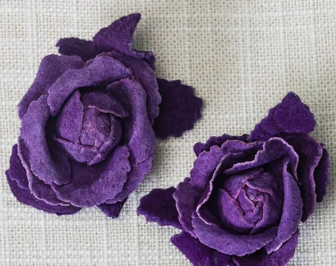 Vintage Shoe Clip Purple Suede Flower Colorful Shoeclips