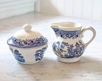 Vintage Pr Blue Willow Creamer and Sugar Bowl, English Ironstone