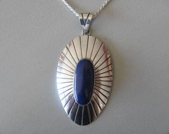 Sterling Lapis Necklace, Raful Cano, Mexican Artisan, Sunray Design, Vintage Mexican Silver