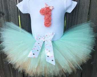 Peach and Mint Reversible Tutu First Birthday Outfit and Matching Headband | Shabby Chic Birthday Outfit