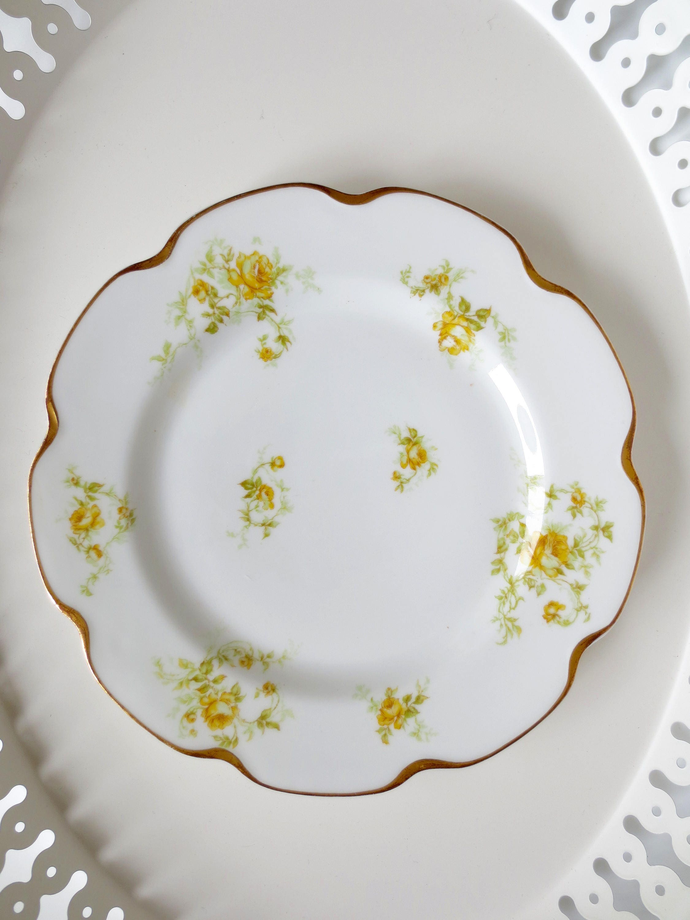 Haviland Limoges Dinner Plate Yellow Rose of Texas Decorative Shabby Chic Indianapolis Gold Trim China Pattern & Haviland Limoges Dinner Plate Yellow Rose of Texas Decorative Shabby ...