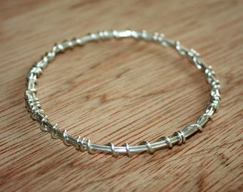 Sterling Silver Bangle - Wire Wrapped Bangle Bracelet - Silver Wire Bangle - Silver Bracelet - 25th Anniversary Gift - Stacking Bracelet