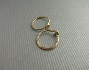 1/2 inch Gold Hoop Earrings Small Hammered Gold Hoop Earrings