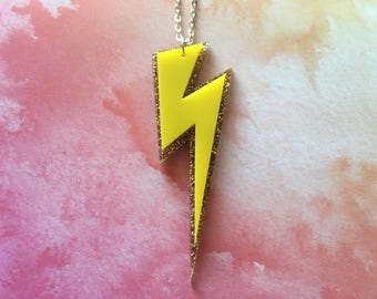 Laser Cut Lightning Bolt Statement Large Acrylic 16 Inch Necklace