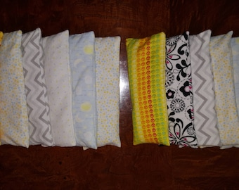 Lot of 6 Cotton FLANNEL Golden Flaxseed Eye Pillows with Lavender OR Chamomile Buds