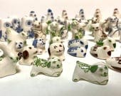 Vintage lot of Miniature pottery Animals, delft style in blue, brown and green, owls, cats, dogs, turtles, chickens, rabbits, birds, 1 - 2""