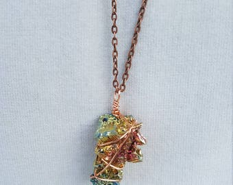 Copper Bismuth Wire Wrap Pendant
