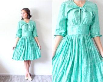 20% OFF JULY 4th SALE Vintage green christmas dress // modest dress // fancy bow dress // christmas party dress // 60's green formal dress /