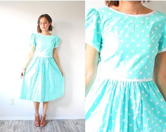 30% OFF SALE Vintage LANZ original mint 1950's modest dress // polka dot dress // short sleeve modest classic dress // 1960's 1950's full sk