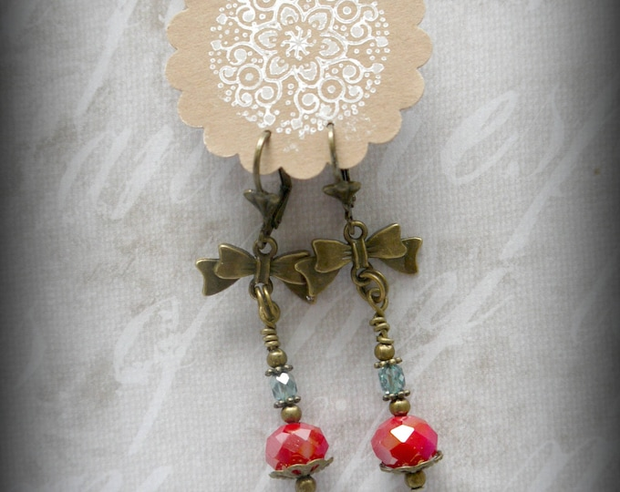 brass drop earrings withred  czech glass beads and a bow