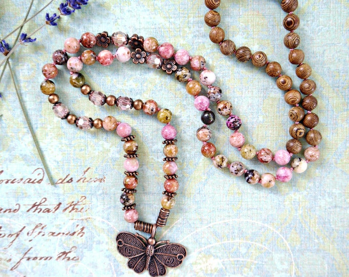 8mm rhodochrosite necklace, handknotted with gemstones and wood beads, antique copper butterfly pendant, handknotted necklace