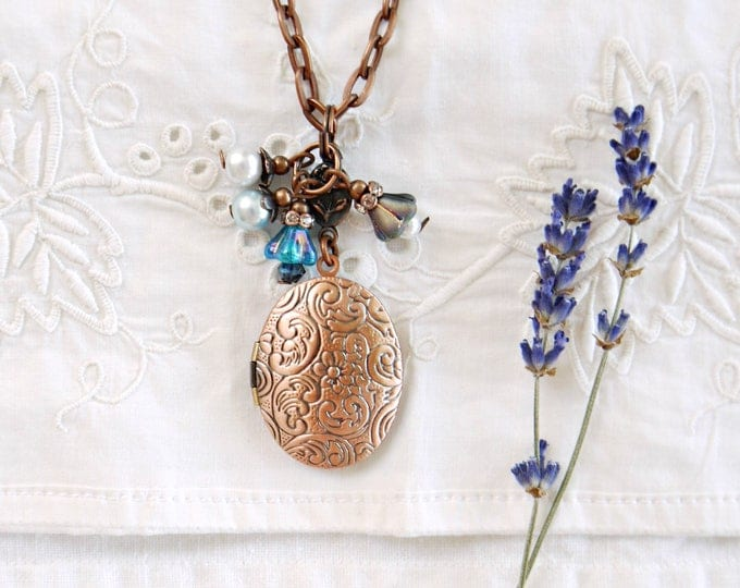 Oval antique copper locket necklace with blue glass bead dangles, victorian style photo locket with czech glass flowers and glass pearls