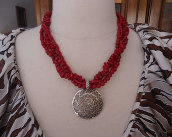 Vintage 4-Strand Faux Coral Necklace w/ Silver Tone Filigree Pendant, Adjustable Multi Strand Necklace