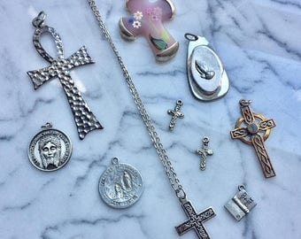 SUMMER SALE Destash  Craft Lot of Vintage and Salvaged Religious Crosses Charms and Jewelry Pieces