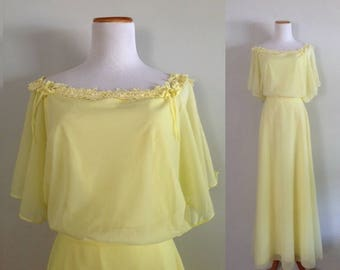 Vintage 1970s Yellow Blouson Gown Off the Shoulder Pastel Maxi Dress Belted Prom Size Small