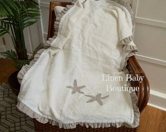 Starfish Blanket. Natural Linen and Ivory Linen Starfish Crib Blanket. Baby Blanket. Gender Neutral. .