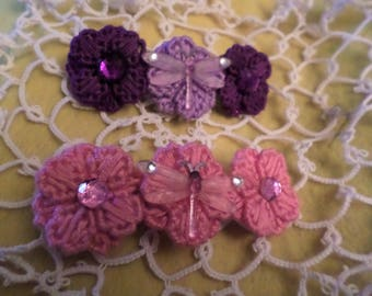 Dragonfly And Flower Barrette Pink Purple