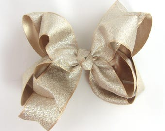 "Light Gold Hair Bow, 4"" gold hair bow, girls hair bow, metallic hair bows, pale gold, baby hair bow, big gold hair bow, large, double layer"