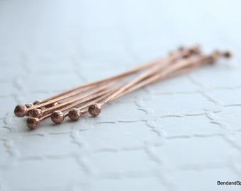 Copper Headpins, Ball End Headpins, 10 Double Ball End Head Pins