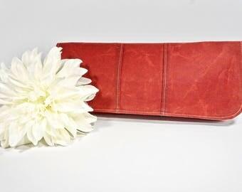 Simply Clutch | Red Waxed Canvas Everyday Clutch | Wedding Clutch | Evening Clutch Purse | Baguette Bag | Bridesmaid Clutch | Bridal Purse