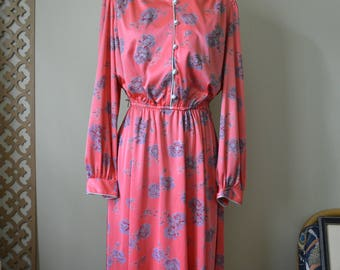 Pink Floral Day Dress Sz L