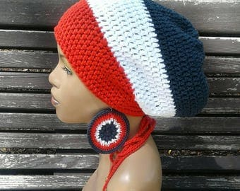 Red White and Blue Slouch Hat/ dreadlock with drawstring /free matching crochet earrings American Flag Colors 100% cotton