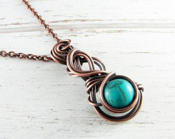 Wire Wrapped Jewelry Copper Jewelry Turquoise Necklace Wire Wrap Pendant Copper Necklace Turquoise Jewelry Wire Wrap Necklace Copper Wire