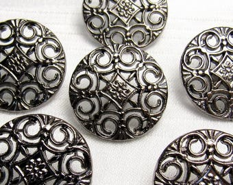 "Openwork Scrolls: 13/16"" (21mm) Antiqued Silver Metal Buttons - Set of 6 New / Unused Matching Buttons"