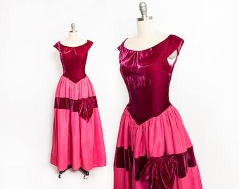 Vintage 1940s Dress - Raspberry Velvet Taffeta Full Skirt Gown Ruby Crimson 40s - Small