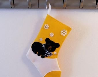 CHRISTMAS IN JULY Black Bear Personalized Christmas Stocking by Allenbrite Studio