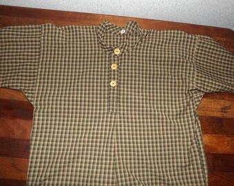 Boys Civil War Size 14 Green Tan Plaid Homespun Cotton Shirt Reenactor Shirt Sass Shirt