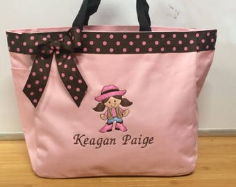 Personalized Cowgirl Western Tote Baby Diaper Bag Embroidered