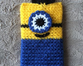 Crochet Phone Cover.Knitted Phone Case.Crochet Minion Phone Cover.