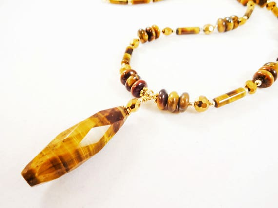 Tiger's Eye and Crystal Necklace