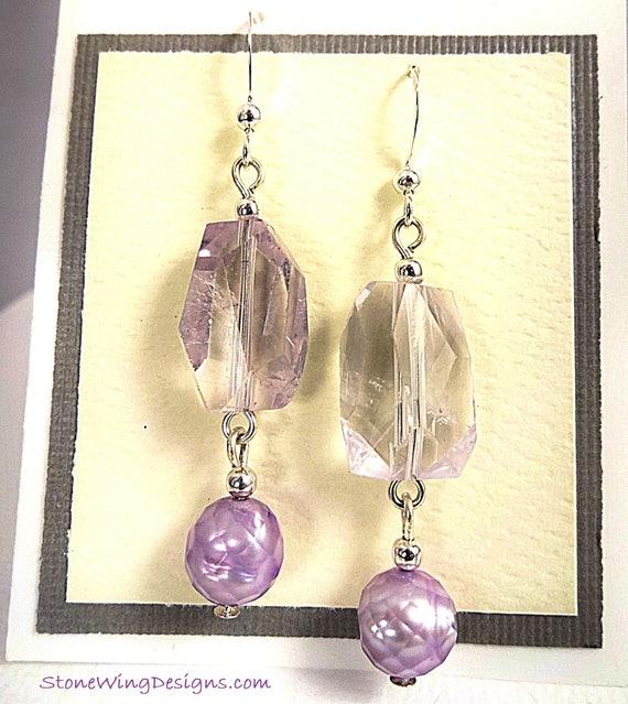 Lavender Amethyst and Pearl Gemstone Earrings