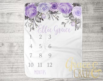 "FREE US SHIPPING Milestone Photo Blanket // Fleece or Minky  34"" x 52"" Newborn Photo Blanket // Watercolor Roses in Purple Lavender + Grey"