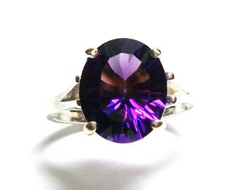 """Amethyst, AAA amethyst, amethyst ring, solitaire birth ring, purple, engagement ring, s 7 1/2  """"Jazz Berry Jam"""""""