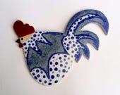 Pottery Chicken Cockerel Wall Plaque stoneware ceramic  indigo blue spotty dotty