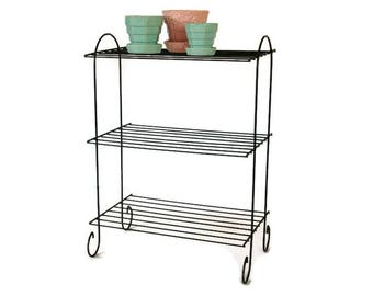 Black Wire Shelves, Vintage Shelving Unit, Metal Plant Stand, Tiered Standing Shelf, Record Player Stand, Mid Century Decor