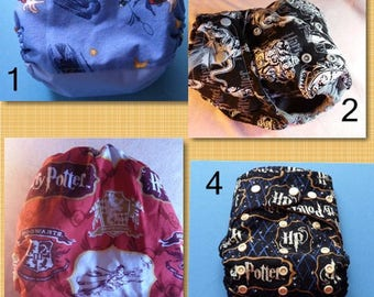 SassyCloth one size pocket diaper with Harry Potter cotton print. Made to order.